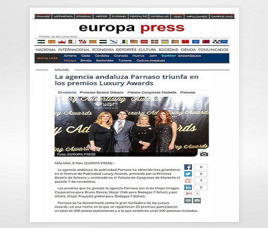 Parnaso gran triunfadora en los premios Luxury Awards - Parnaso