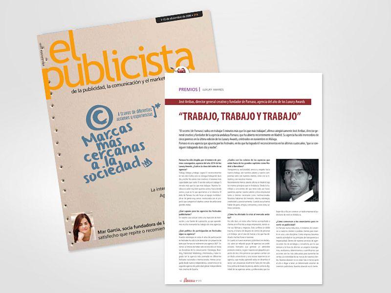 Entrevista realizada a José Arribas en El Publicista - Parnaso