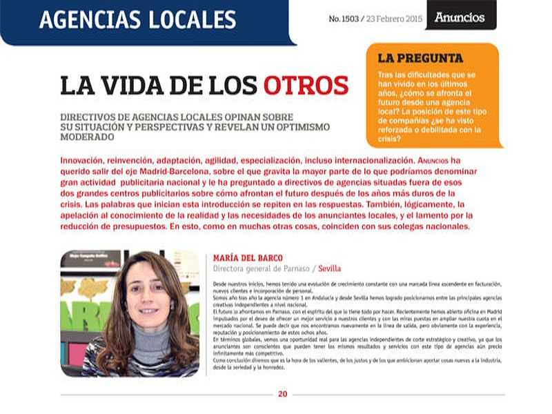 María Del barco aparece en el Especial de la Revista Anuncios - Parnaso
