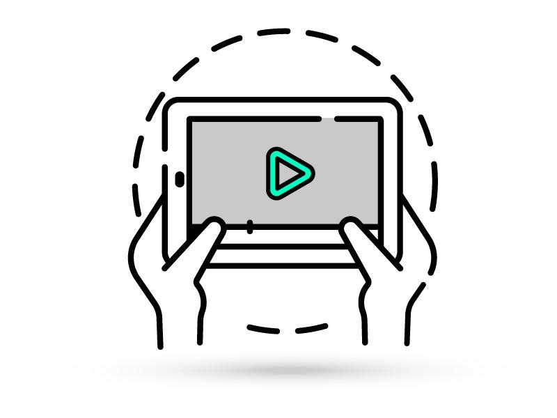 Tablet con anuncio infografía creatividad