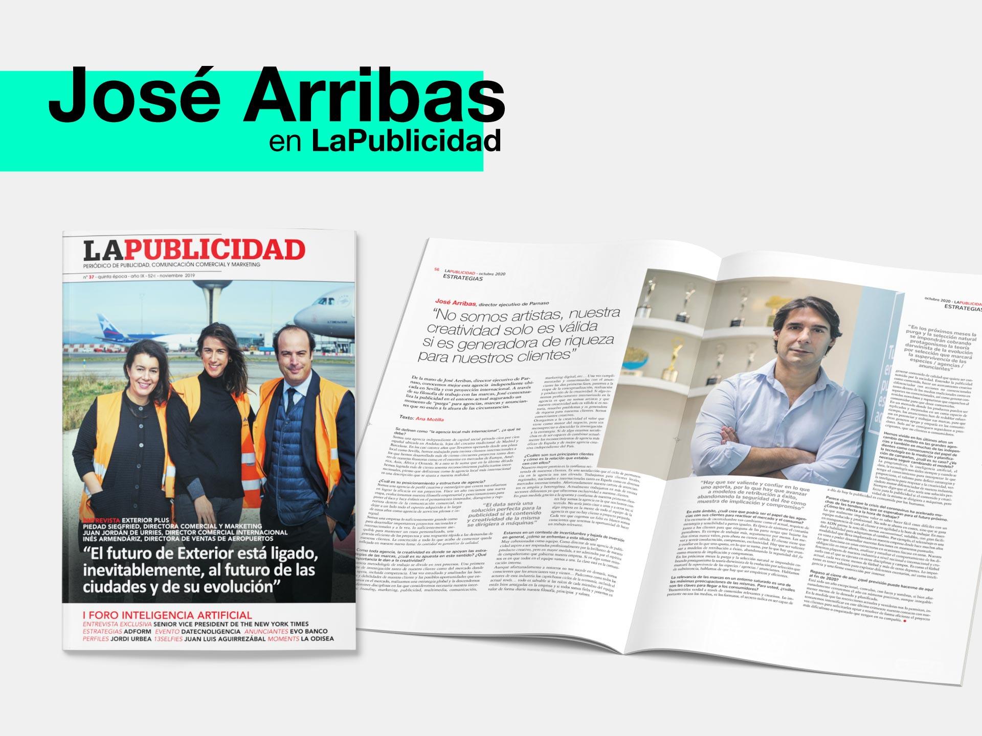 Entrevista a José Arribas León, CEO de Parnaso, en La Publicidad - Parnaso