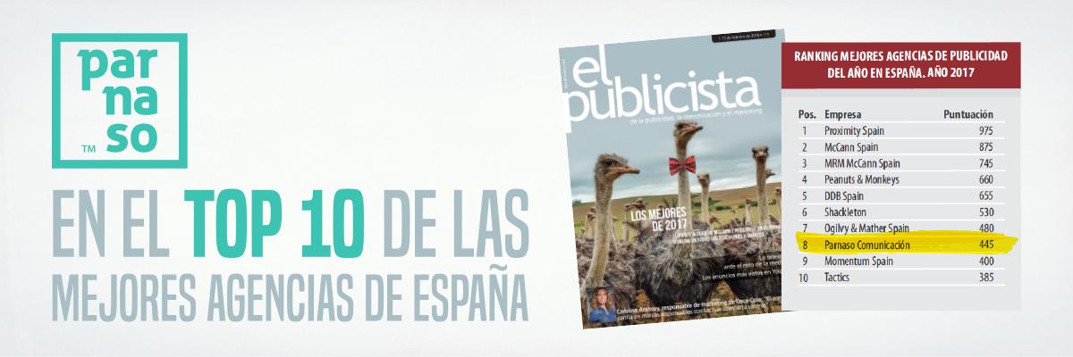 """Parnaso en el """"TOP 10"""" de mejores agencias en España. - Parnaso"""